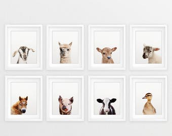 Farm Animal Prints, Nursery Decor, Farm Baby Animals Set 8, Lamb, Pig, Duckling, Cow Print, Nursery Animal Wall Art, Kids Room Printable Art
