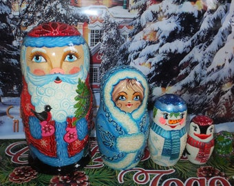 Russian matryoshka doll nesting babushka Christmas winter handmade