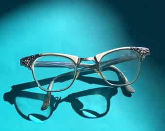 Vintage Cat Eye Glasses, Cat Eyeglasses, Vintage Eyewear, Silver Cat Eye Glasses, Artcraft Cat Eye Glasses, Artcraft, 50s Pin Up, Cat Eyes