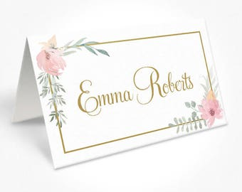 Pink and GoldWedding Place Cards, Soft Pink Watercolour Flowers, Place Cards, Kristen Suite, DEPOSIT | Peach Perfect Australia
