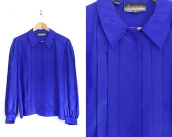 80s pleated blouse cobalt blue top secretary blouse collared button down shirt knife pleats 1980s lightweight satin blouse womens shirt xl