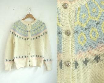 80s nordic cardigan sweater chunky knit sweater fair isle sweater raglan button down cardigan acrylic womens jumper small