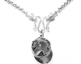 Viking Crystal Ball Pendant with 62cm islandic wolf heads chain VIKING KRISTALL silver