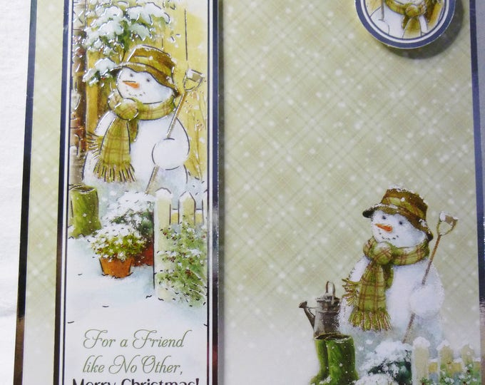 Snowman At The Gate, Christmas Greeting Card, For Friend Like No Other, Green and Silver Card, Male or Female, Any Age,