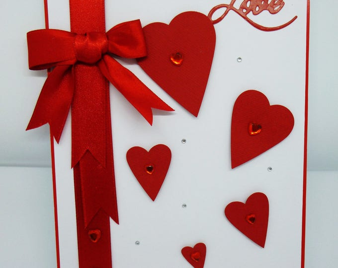Anniversary Card, Romance and Love, Wedding Card, Greeting Card, Male or Female, Any Age, Red and White, Hearts and Bow