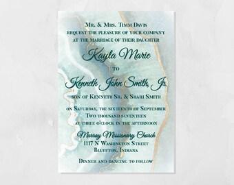 PRINTABLE Agate Slice Modern Wedding Invitation