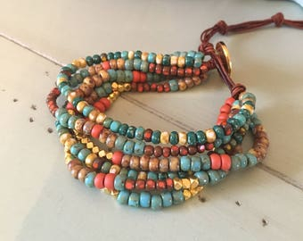 Seed Bead Wrap Bracelet (Blues, Coral Orange, Yellow/Golds)