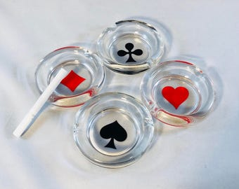 Playing Card Suit Ashtrays Set of 4