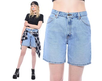 Vintage 80s 90s LEVIS Light Blue Stonewashed Denim High-Waist Mom Jeans Long Shorts Grunge M *Free Shipping U.S.* vtg