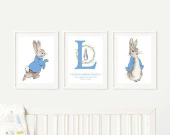 Peter Rabbit - Set of three prints -  Nursery Set - Gift - Beatrix Potter - Baby Gift -  Character • Birth •Baby Shower