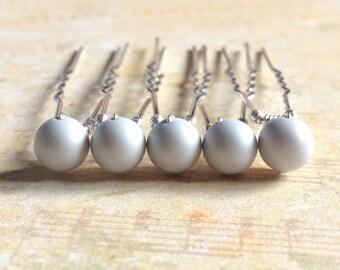 Pastel Grey Hair Pins, Matte Grey Pearls, Grey Bobby Pins, Pastel Hair Slides, Grey Hair Grips, Wedding Accessories, Pearl Hair Clips