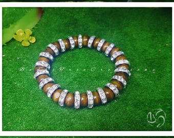 Wooden beaded crystal rhinestones bracelet