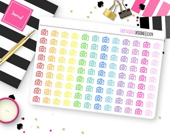 Custom Color Line Icon Stickers for Erin Condren Life Planner, Plum Paper or Mambi Happy Planners