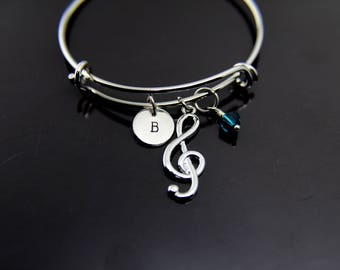 Music Gift Music Teacher Gift Music Melody Charm Bracelet Music Note Bracelet Treble Clef Bangle Personalized Bangle Initial Charm