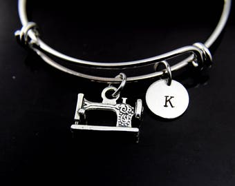 Sewing Machine Charm Bangle, Sewing Machine Bracelet, Sewing Charm, Personalized Bracelet, Expandable Bangle Charm Bangle Initial Bracelet
