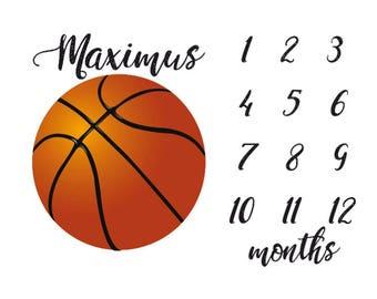 Sports baby blanket etsy basketball milestone name blanket stats blanket baby shower gift personal baby blanket negle Choice Image