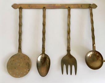 Vintage 5 Piece Brass Utensil Set With Wall Mount Hanger.