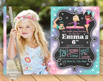 Gymnastic Invitation Gymnastics Birthday Invitation Gymnastic Invite Party Printable DIY Girl Pink Aqua Green Purple Photo Photograph BG8/12