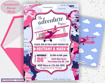 Airplane / Baby / Shower / Invitation / Vintage / Plane / World / Map / pink blue / invite / Girl boy / fly away places you will go twins A4