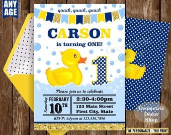 Rubber Duck, Duckie Birthday, Duck Birthday, Gold Blue Duck Birthday, Invite, Birthday Invitation, Splish Splash Pool Bash, boy, 1st BDuck3