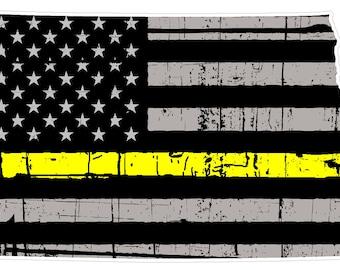 North Dakota State (E35) Thin Yellow Line Dispatch Vinyl Decal Sticker Car/Truck Laptop/Netbook Window