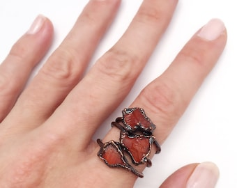 Carnelian Ring, Carnelian Copper Ring, Carnelian Stacking Ring, Raw Carnelian Ring, Gemstone Stacking Ring, Antique Copper Ring