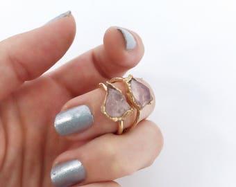 Rose Quartz Ring, Gold Rose Quartz Ring, Pink Stone Ring, Gold Pink Ring, Raw Rose Quartz, Mermaid Jewelry