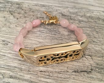 Rose Quarts Bracelet for Fitbit Flex 2 Activity Tracker Handmade Gold Color Fitbit Flex 2 Tracker Holder Rose Quarts Love Energy Bracelet