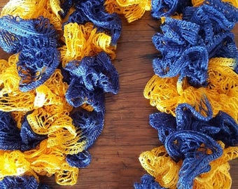 Blue and Gold Ruffle Lace Scarf