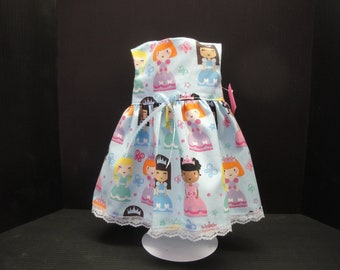 Cute dress covered with little princesses to fit American girl doll