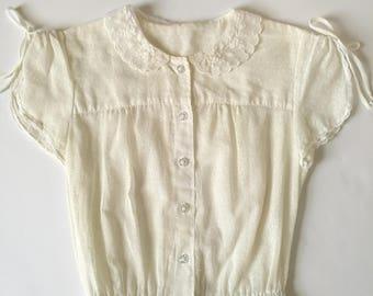 Vintage 1970s sheer white cotton lace collar dress