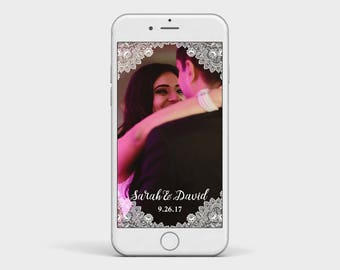 Lace Wedding Snapchat Filter, Rustic White Lace and Calligraphy Snapchat Geofilter Image, Wedding Snapchat Filter