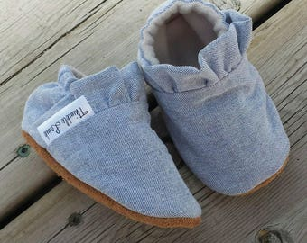 Denim Ruffled Baby Slippers