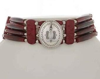 Navajo Indian Bone Choker Sterling Silver Concho Medallion