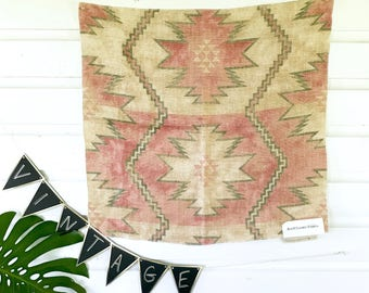 Vintage Southwestern Ralph Lauren Linen fabric sample /  Bohemian Decor