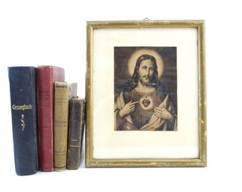 Sacred Heart of Jesus Framed Lithograph - Jesus Christ Framed Monochrome - Catholic Lithograph - Polish Catholic Framed Picture