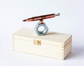 SET 27 copper pen on a holder, souvenir pen, pen for engineer, luxury pen set, customized pen, plumber pen, pen for him, graduation gift