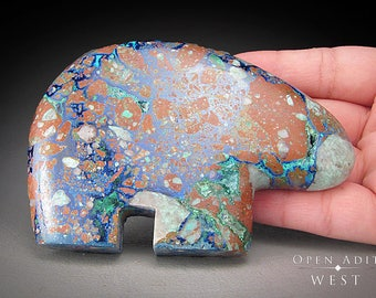 Azurite and Malachite Bear Carving, Morenci, Arizona