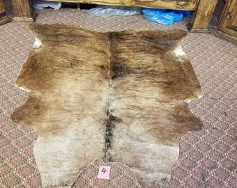 Designer Cowhide Rug • Size 5ft x 5.5ft• Brazillian Cowhides  FREE SHIPPING