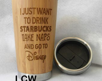 Naps Starbucks & Disney Coffee Cup Travel Mug Bamboo Stainless Steel Personalized Custom Mother's Father's Day Friend Birthday Retirement