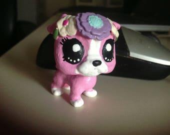 Custom LPS Kawaii Flower Crown Bulldog