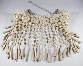 RENOVATIO CHOKER BEIGE, Choker Necklace, Crochet Choker Necklace, Pink Choker Necklace, Beige Choker Necklace