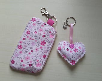 Girls matching purse and heart keyring set in pink ditsy flower fabric