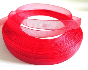 10 m Red 10mm organza Ribbon