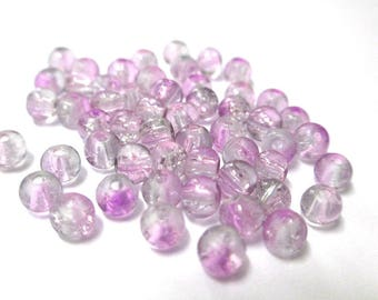 20 two-tone purple and white glass beads Crackle 4mm