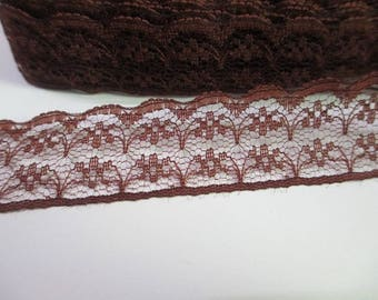 1 meter Ribbon lace Brown thin 20mm