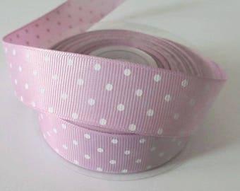 1 meter Ribbon grain purple printed white polka dots, 25 mm