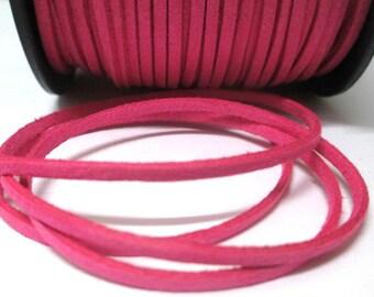 1 m fuchsia suede 3 mm suede cord