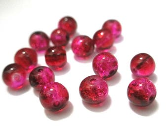 20 pink and Red 6mm Crackle glass beads