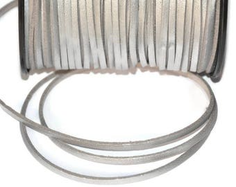 silver look suede 3 mm leather cord 3 m